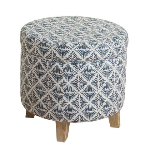 Round Shaped Fabric Upholstered Wooden Ottoman with Lift Off Lid Storage, Blue and White