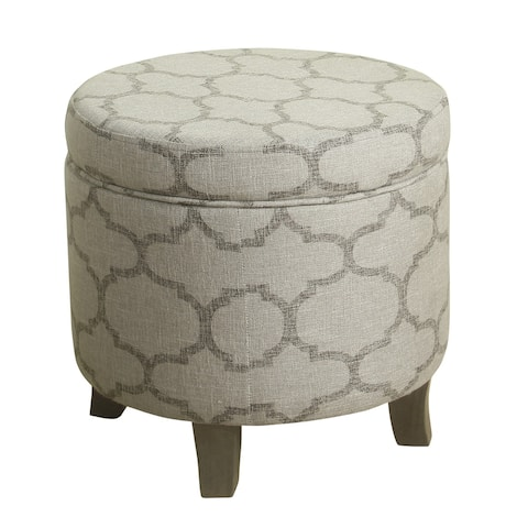 Wooden Ottoman with Geometric Patterned Fabric Upholstery and Hidden Storage, Gray