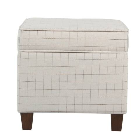 Wooden Square Ottoman with Grid Patterned Fabric Upholstery and Hidden Storage, Beige and Brown