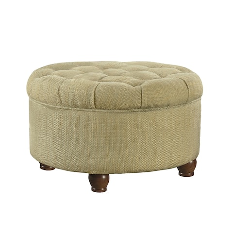 Fabric Upholstered Wooden Ottoman with Tufted Lift Off Lid Storage, Beige and Brown