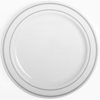 "Link to Party Joy 75-Piece Dinnerware Set, Silver Lines Collection, White, 10.25"" Similar Items in Dinnerware"