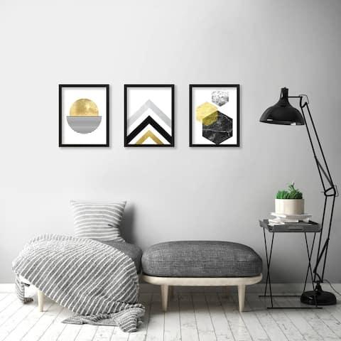 "Monica Pop ""Geometric"" 3 Piece Framed Print Set"