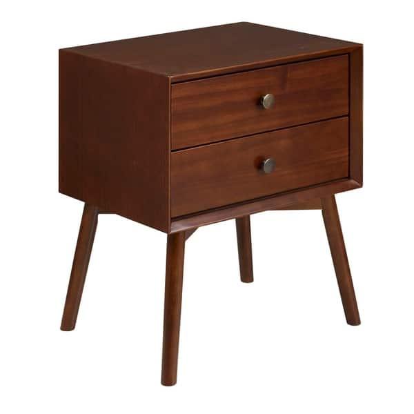Mid Century Modern 2 Drawer Solid Pine Wood Nightstand Walnut Overstock 27981526