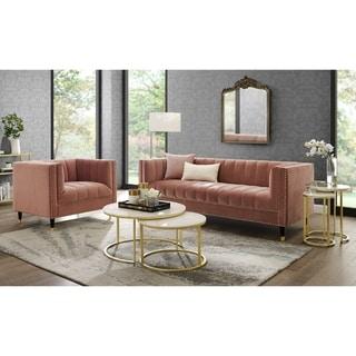Nicole Miller Akeno Velvet Club Chair or Sofa - Channel Tufted