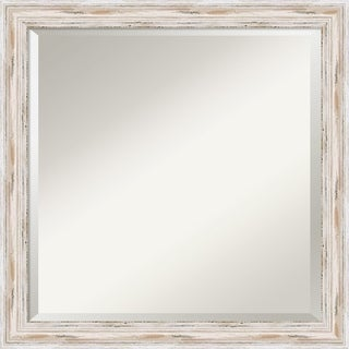 Bathroom Vanity Mirror, Alexandria White Wash Narrow Wood - 23 x 23-inch