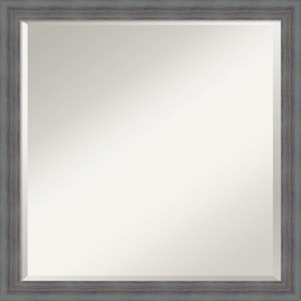 Bathroom Vanity Mirror, Dixie Blue Grey Rustic Wood - 22 x 22-inch