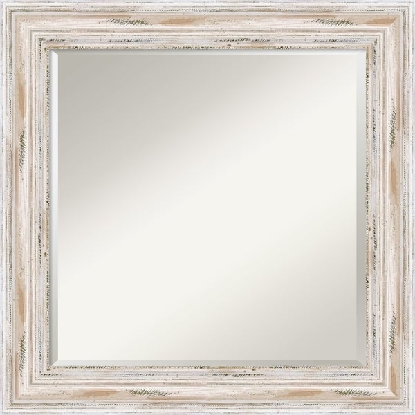 Bathroom Vanity Mirror, Alexandria White Wash Wood - 25 x 25-inch