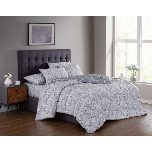 Edessa Grey Distressed Damask Reversible Bed in a Bag