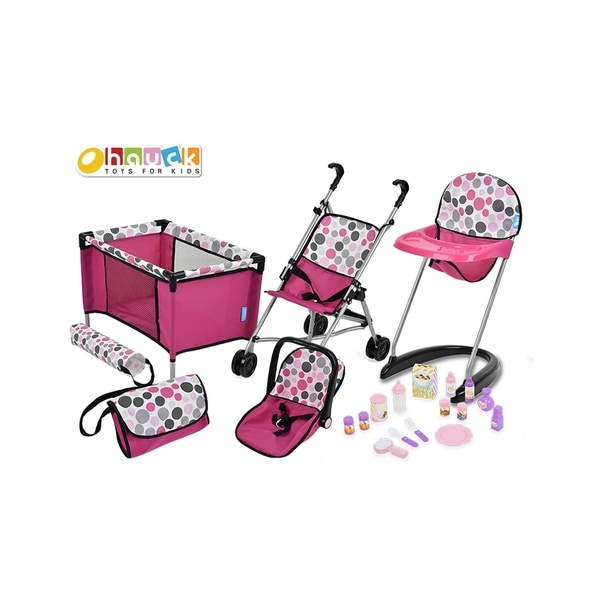 21 Piece Baby Doll Care Set Stroller, Car Seat, Highchair, Play Yard, Diaper Bag. Opens flyout.