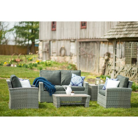 Jaco Weathered Gray 5-piece Wicker Conversation Set by Havenside Home