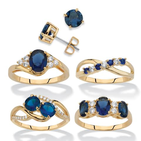 Gold-Plated Sapphire and Cubic Zirconia 5 Piece Ring and Earring Set