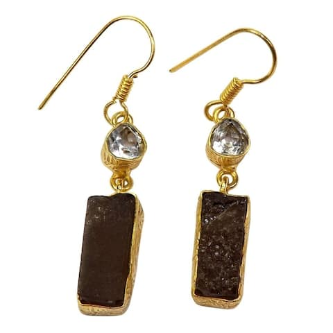 Gold-overlay Crystal and Smoky Quartz Earrings (India)