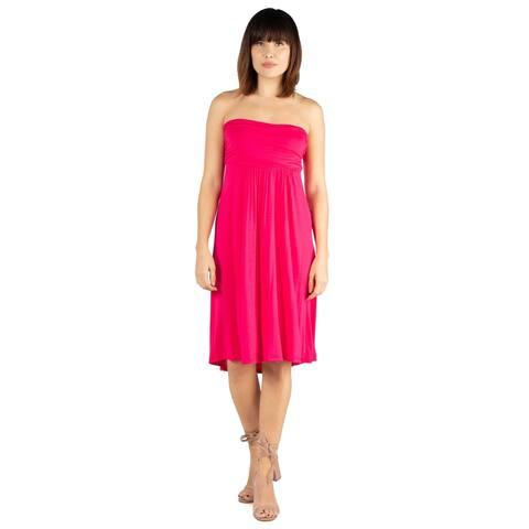 24seven Comfort Apparel Womens Knee Length Strapless Tube Mini Summer Dress