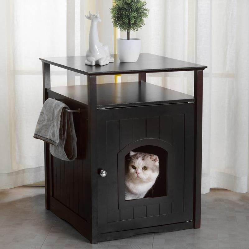 Cat Washroom Litter Box Cover / Night Stand Pet House, Black
