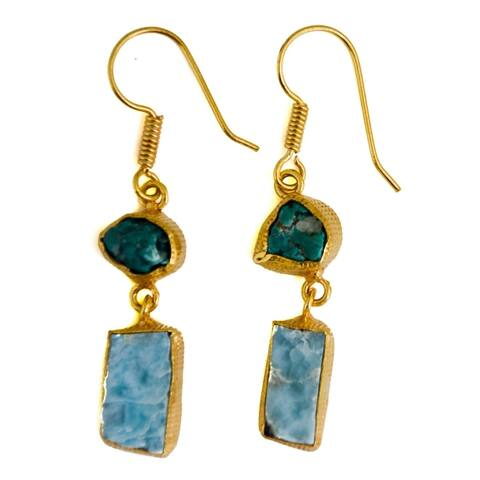 Gold-overlay Turquoise & Larimar Earrings (India)