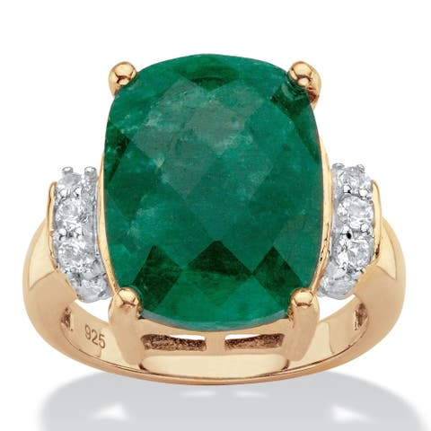 Yellow Gold over Sterling Silver Emerald and Genuine Tanzanite Ring