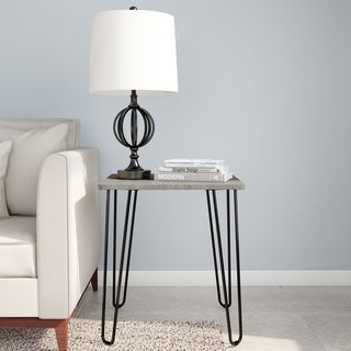 End Table with Hairpin Legs- Modern Industrial Style Decor, Woodgrain-Look and Steel Accent Furniture by Lavish Home