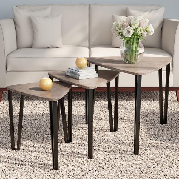White Zinnia Nesting Tables Set Of 3: Shop Nesting Tables- Set Of 3, Modern Woodgrain Look For