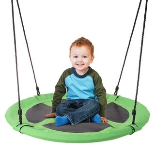 "Saucer Swing- 40"" Diameter Hanging Tree or Swing Set, Round Disc with Adjustable Rope by Hey! Play!"