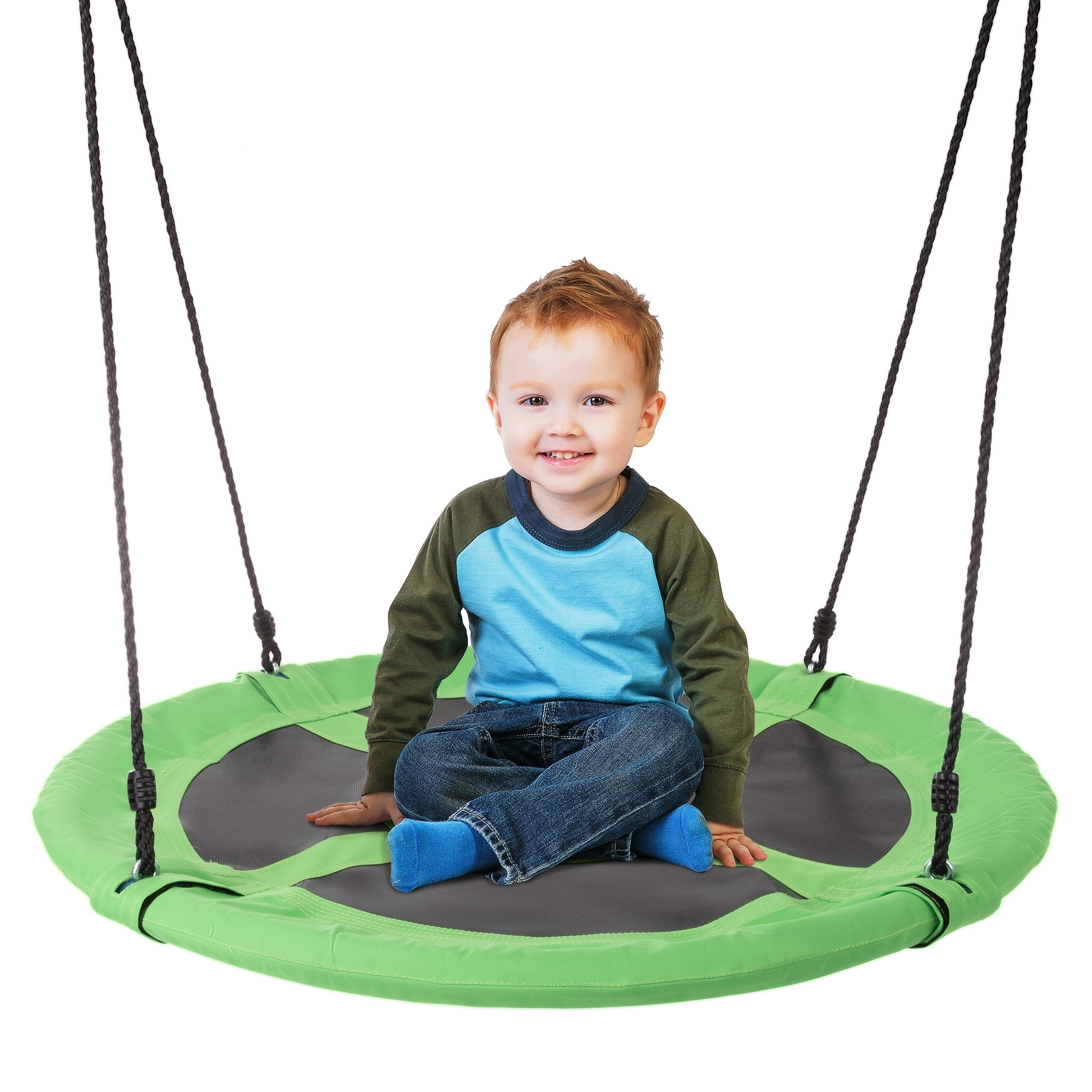 Outdoor Baby Swing Green Seat with Adjustable Ropes