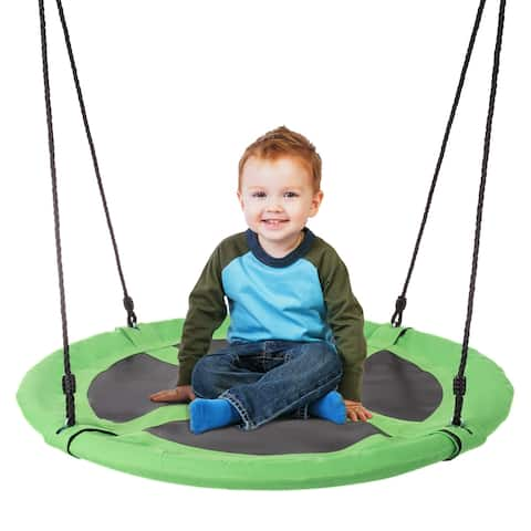 """Saucer Swing- 40"""" Diameter Hanging Tree or Swing Set, Round Disc with Adjustable Rope by Hey! Play!"""
