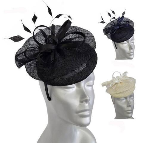 Women's straw sinamay pillbox cocktail fascinator hat
