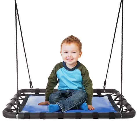 """Platform Swing- 40""""x30"""" Hanging Outdoor Tree or Playground Rectangle Bench Swing with Adjustable Rope by Hey! Play! - 40x30"""