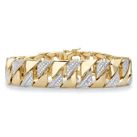 "Men's Gold-Plated Interlocking Link Bracelet, Diamond Accent 8.5"""