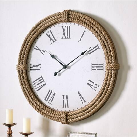 """Lash 30 Inch Diameter Rope Round Oversized Wall Clock - 30"""" Dia."""
