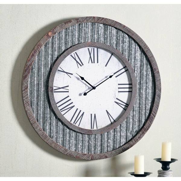 """Meyer 30"""" Dia. Galvanized and Distressed Wood Oversized Wall Clock - 30"""" Dia."""