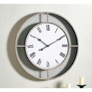 """Molly 30 Inch Diameter Weathered Brown Round Oversized Wall Clock - 30"""" Dia."""