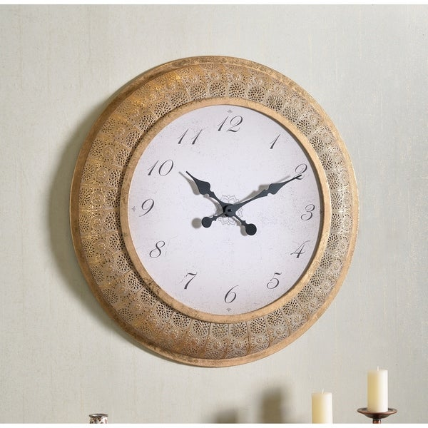 """Kelly 30 Inch Diameter Gold Round Oversized Wall Clock - 30"""" Dia.. Opens flyout."""