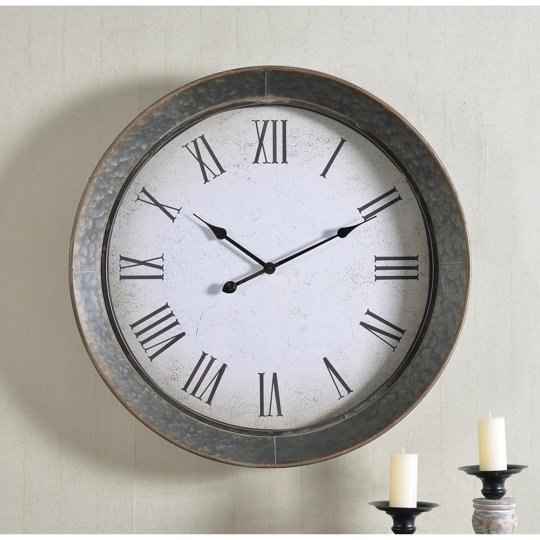 Genevieve 30 Inch Diameter Galvanized Round Oversized Wall Clock 30 Dia On Sale Overstock 27982590