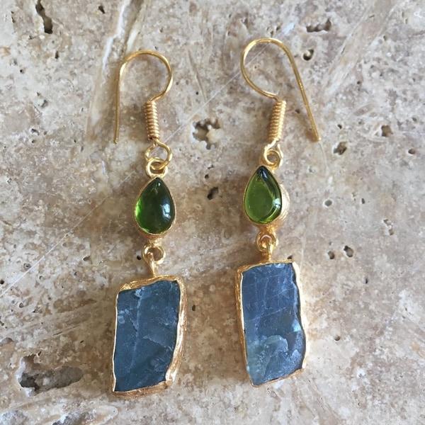Sitara Handmade Gold-overlay Labradorite & Glass Earrings (India). Opens flyout.