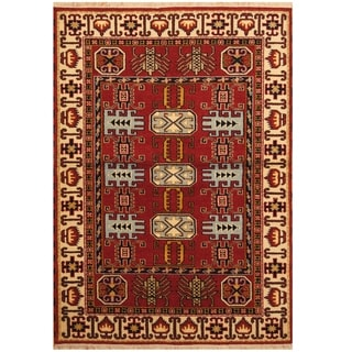 Handmade One-of-a-Kind Kazak Wool Rug (India) - 4'8 x 6'8