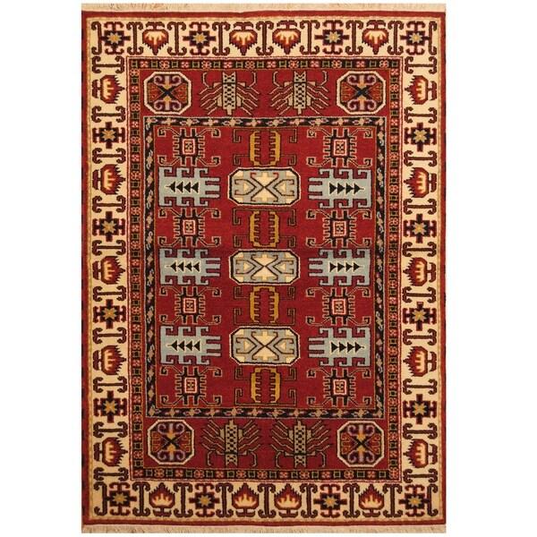 Handmade One-of-a-Kind Kazak Wool Rug (India) - 4'8 x 6'8
