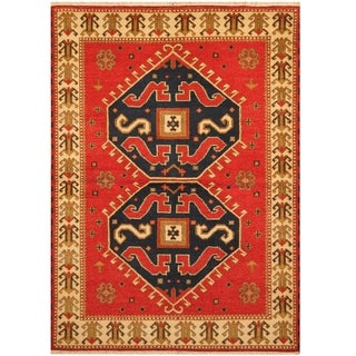 Handmade One-of-a-Kind Kazak Wool Rug (India) - 4'8 x 6'7