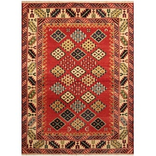 Handmade One-of-a-Kind Kazak Wool Rug (India) - 4'10 x 6'7