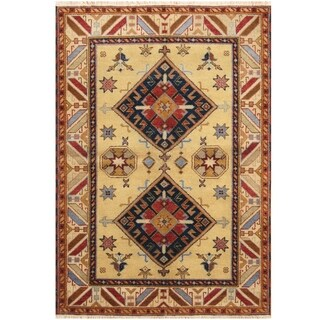 Handmade Kazak Wool Rug (India) - 4'8 x 6'9
