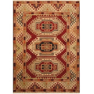 Handmade One-of-a-Kind Kazak Wool Rug (India) - 4'9 x 6'6