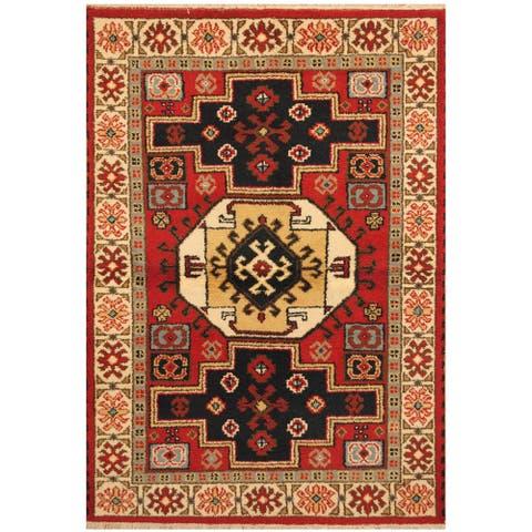 Handmade One-of-a-Kind Kazak Wool Rug (India) - 4'1 x 6'1