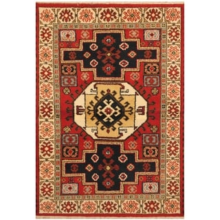 Handmade One-of-a-Kind Kazak Wool Rug (India) - 4'1 x 6'1