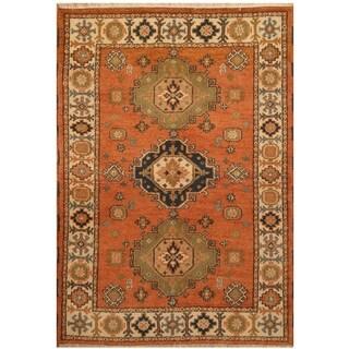 Handmade One-of-a-Kind Kazak Wool Rug (India) - 4'6 x 6'5