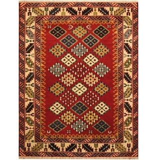 Handmade One-of-a-Kind Kazak Wool Rug (India) - 4'6 x 6'6