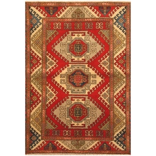 Handmade One-of-a-Kind Kazak Wool Rug (India) - 4'7 x 6'8