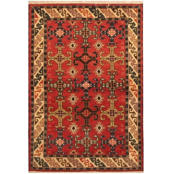 Handmade One-of-a-Kind Kazak Wool Rug (India) - 4'9 x 7'
