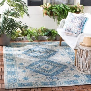 Safavieh Courtyard Transitional Tribal Light Grey/Blue Rug