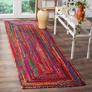 Safavieh Handmade Braided Country Geometric Red/Multi Cotton Rug