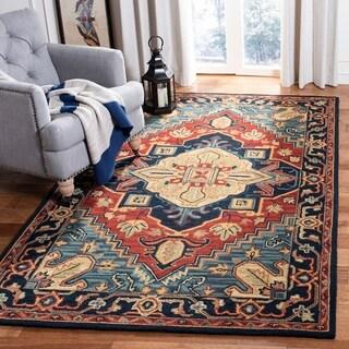 Safavieh Handmade Heritage Traditional Oriental Red/Navy Wool Rug