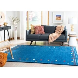 Safavieh Handmade Himalaya Modern & Contemporary Border Blue Wool Rug